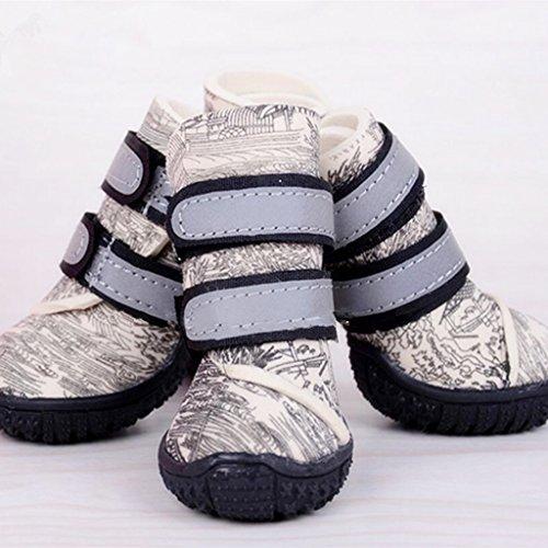 4pcs Botas de Lluvia Antideslizante Zapatos Impermeables Disfraces para Perro Animal Doméstico Gato - Beige , 60 #