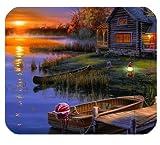 Motif coucher de soleil au bord d'un lac Tapis de souris personnalisé en forme de maison personnalisé de souris rectangulaire en 9,84 et quot; X7.87 et quot;-Souris et tapis de jeu