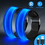 Led Armband Aufladbar, 2 STK Leuchtarmband USB Reflektorband Reflective Band Led Armbänder Leuchtband Kinder Reflektorbänder für Joggen Laufen Sport, Blau