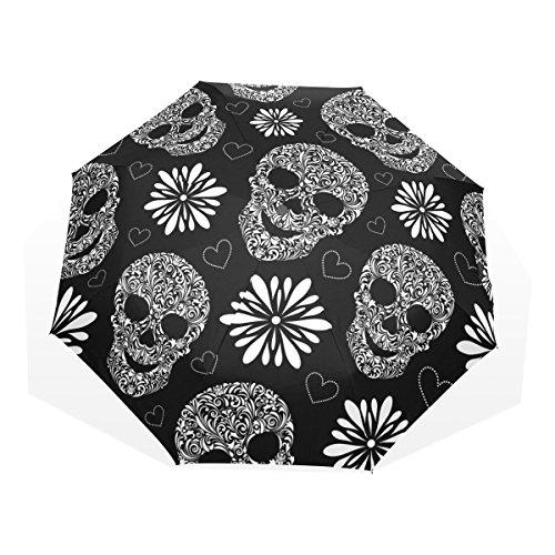 GUKENQ - Paraguas de Viaje Ligero con diseño de Calavera de azúcar, para Hombres, Mujeres y niños, Resistente al Viento, Plegable, Compacto