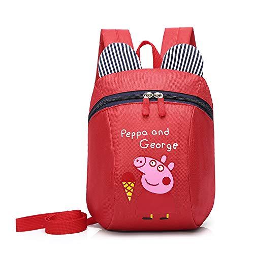 GYQXX Neue Grundschule Tasche Cartoon Anime Schwein Anti-verlorene Kinder Rucksack Multifunktions-Baby-Rucksack,Red
