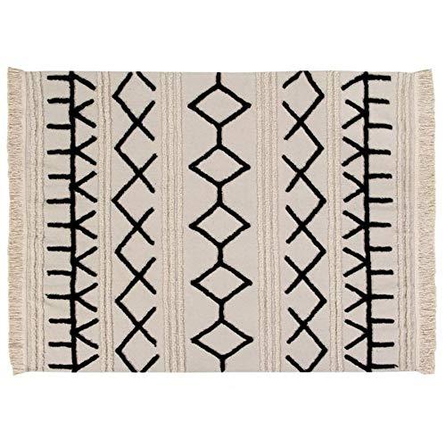 Lorena Canals Waschbarer Teppich Bereber Canvas Natürliche Baumwolle -Schwarz- Beige- 160x120 cm - Natürliche Beige-teppich
