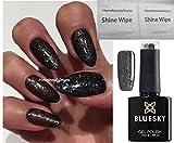 BLUESKY VIP03 10 mlGlitzer-Nagellack Gellack, UV-/LED-Lack, Soak-Off-Lack, Farbton: VIP03 Schwarz mit Silber-Glitzer-Abyss, 10ml, plus 2 LuvliNail-Glanztücher
