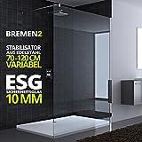 150x200 cm Duschwand aus Echtglas Bremen2K Stabilisator rund 10mm ESG Sicherheitsglas klarglas inkl Nanobeschichtung