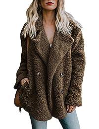 Dokotoo Damen Warm Fleecejacke Winter Mantel mit Großem Kragen Winterjacke Warm Teddy Fleece Plüschjacke Langarm Dicke Jacke Outwear mit Taschen