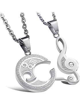 Jewow Schmuck Edelstahl Verliebte Paar Halskette Musiknotation Anhänger mit Gravur für Sie und Ihn