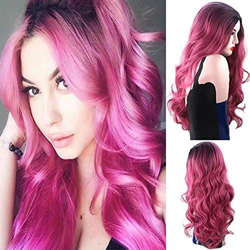 Royalvirgin Schwarz und Pink Ombre Langer Körper-Wellen-hitzebeständige synthetische Mittel Parting Cosplay-Perücken für Frauen mit Freier Wig Cap