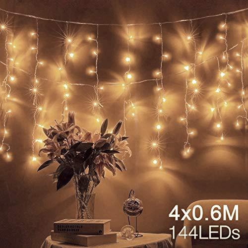 Quntis 4 m × 0,6 m 144 LED Lichterkette Lichtervorhang, Wasserfeste Fenster Lichterkette, Beleuchtung für Weihnachten, Party, Outdoor, Hochzeit, Dekoration (Hell Rosa)