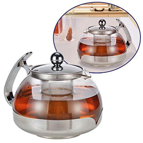 Teekanne aus Glas mit Edelstahl-Filter 1,2 Liter 16028
