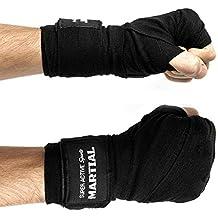 Fasce professionali da boxe - Bendaggio resistente - Struttura di alta qualità - Cotone ed elastan – Per pugilato, MMA, allenamento boxe, sacco da boxe, sacco da pugilato - 4,5 m - Nero - Bendaggi boxe