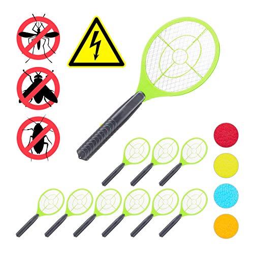 Relaxdays 10 x elektrische Fliegenklatsche, ohne chemische Stoffe, Fliegentöter, gegen Fliegen, Mücken & Moskitos, Fly Swatter, grün