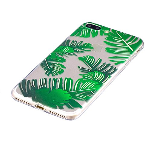 iPhone 7 Plus Hülle Silikon Clear,iPhone 7 Plus Handyhülle Muster,iPhone 7 Plus Hülle Glitzer Pink Ultra Dünn Weiche TPU Gel Silikon Glänzend Glitzer Kristall Stoßdämpfend Transparent Handytasche mit  Bananenblätter