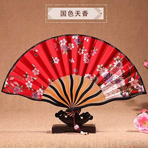XIAOHAIZI Handklappventilator,Vintage Chinese Classical Summer Folding Fan Floral Red Ladies Gift Dance - Red Dance Kostüm