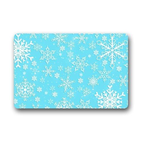 best bags Paillasson en Tissu et Caoutchouc antidérapant Durable pour intérieur/extérieur Inscription Welcome to My Home Motif Bonhomme de Neige Bleu/Blanc 60 x 40 cm, 61, 23.6\