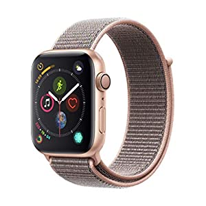 Apple Watch Series 4 (GPS) con caja de 44 mm de aluminio en oro y correa Loop deportiva rosa arena