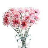 KIRIFLY Künstliche Blumen 10 Stück Unechte Blumen Deko Künstlich Gefälschte Daisy Bulk Deko Hochzeit Seidenblumen Sonnenblumen Dekor Kunststoff Gerbera Blumenarrangements Tischdekoration(Rosa)