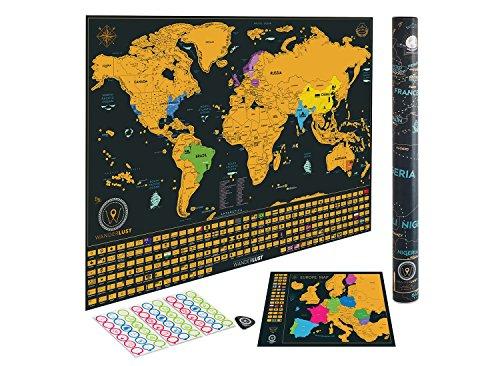 confronta il prezzo Mappa del mondo da grattare in edizione Deluxe - Mappa mondiale in versione Premium con gli Stati Uniti e le Bandiere Nazionali (62.4cm x 41cm). La confezione regalo include raschietto, adesivi promemoria e lente di ingrandimento. miglior prezzo