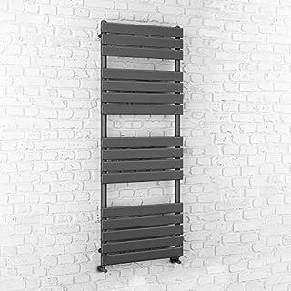 iBathUK | 1600 x 600 Anthracite Flat Panel Heated Towel Rail Bathroom Radiator