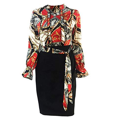 JXQ-N Abendkleider Damen Hoch Taille Etuikleid Laternenhülse Bleistiftrock Elegant Business Vintage-Ausschnitt Kontrast Blumenabend Pencilkleid