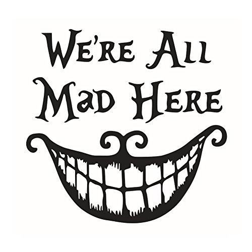 Lumanuby 1x 'We Are All Mad' Wandaufkleber für Halloween Entfernbar Böse Mund und Zähne Wand Decal für Wohnzimmer, Schlafzimmer Oder Geschäft Glasfenster PVC Material, Wandtattoo Serie Size 41 * 42CM