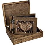 Álbum de fotos de doble cara plegable de la caja 150 hojas negras de amor corazón sepia