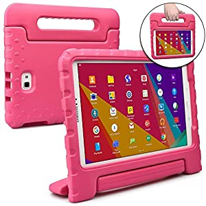 Cooper Dynamo [Rugged Kids Case] Protective Case for Samsung Tab A 10.1 | Child Proof Cover with Stand, Handle, Screen Protector | SM-T580 T585 (Pink)