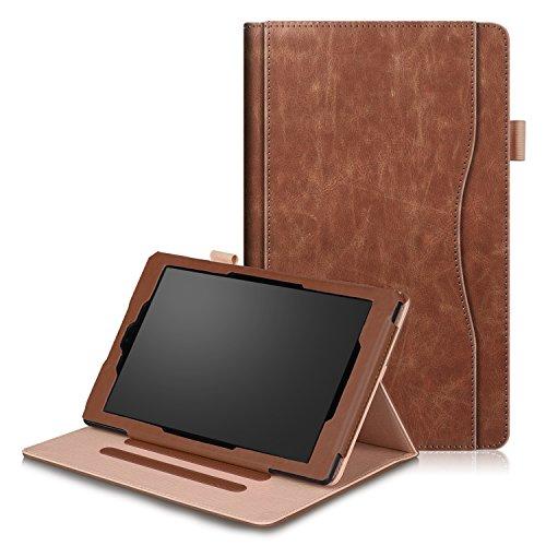 SOUNDMAE Hülle Für Fire HD 10 Tablet (7. Generation - 2017/5. Generation - 2015), Ultra Slim Schutzhülle mit Auto Schlaf/Wach und Ständer für Fire HD 10 (10-Zoll-Tablet, 7. Gen/5. Gen) – Braun