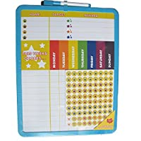 Reward Chart Supplied with Magnetic & 3M Pads, Stickers and Dry Marker (28 x 36 cm) Blue Frame