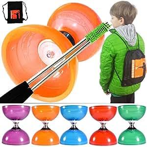 Cloudbuster Diabolo Orange avec axe Orbit3 triple roulement à bille plus des baguettes en aluminium et sac à dos 'iJuggle diabolo'.