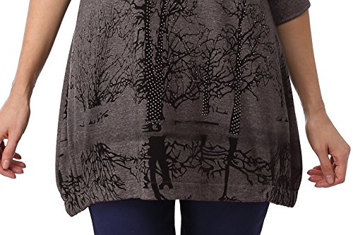 DJT Tee-Shirt longue Blouse Pull-over Sweatshirt Imprime Veste Femme #1-Kaki