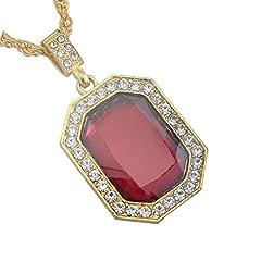 Idea Regalo - 18K placcato oro hip hop ottagonale rosso Crystal collana per uomo e donna, catena 61cm
