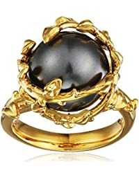Kasun London 18ct Gold Plated Sterling Silver Grey Pearl Ring