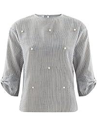 Promod Bluse mit Perlenstickerei