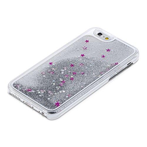 kwmobile Hülle für Apple iPhone 6 / 6S - Hardcase Backcover Case mit Flüssigkeit Handy Schutzhülle - Cover mit Enten Design in Gelb Blau Transparent Schneekugel Sterne Silber Pink Transparent