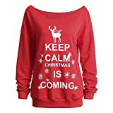 NPRADLA 2018 Herbst Damen Pullover Winter Lang Oversize Frauen Sweatshirt Tops Bluse Shirt Weihnachten Druck Langarm Große Größen Frohe(Rot,5XL/EU Gr.52)