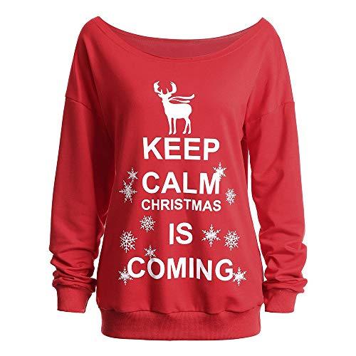TWBB Damen Mantel,Weihnachten Gestrickt Winter Off Shoulder Hemd Outwear Slim-Fit Elegant Sweatshirt Oberteile