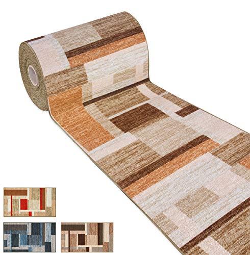 ARREDIAMOINSIEME-nelweb Tappeto Cucina Tessitura Piatta Retro Antiscivolo Moderno Quadri Multiuso Corridoio Bagno Camera MOD.FAKIRO38 57x280 Marrone (C)