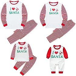 WEICICI Pijamas de Navidad a Juego con la Familia Pijamas de Invierno a Rayas Rojas para Mamá, Papá, Niño y Bebé