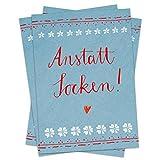 10 Stück Weihnachtskarten: anstatt Socken! SET Postkarten für Weihnachten in Blau Rot, witzig und originell