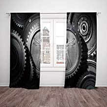 iPrint Thermal Insulated Blackout Window Curtain,Industrial Decor,Wheels of The System with Medieval Old Human Body Animation Device Gears of The Whole Theme,Grey,Living Room Bedroom Kitchen Cafe