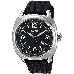 Roots Men's 'Core' Quartz Stainless Steel and Canvas Casual Watch, Color:Black (Model: 1R-PR100BA6B)