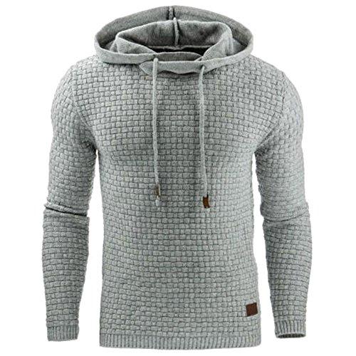 KINDOYO Herren Kapuzenpullover Sweatshirt Pullover Pulli Sweats Motiv Kapuzenjacke Männer, Licht Grau
