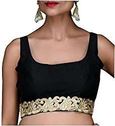 SINGAAR Black Sleeveless Readymade Blouse- Round Back Design - Lace, Latkan & Dori -All Sizes-100% Perfect Fitting