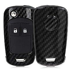 kwmobile Autoschlüssel Hülle für Opel - Hardcover Schutzhülle Schlüsselhülle für Opel Chevrolet 2-Tasten Klapp Autoschlüssel Carbon Design Schwarz
