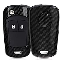 kwmobile Car Key Cover Compatible with Vauxhall (Opel) Chevrolet 2 Button Car Flip Key - Hard Case - Carbon Black