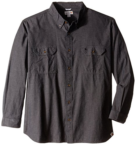 Chambray-utility Shirt (Carhartt Men's Long-Sleeve Lightweight Chambray Button-Front Relaxed-Fit Shirt S202, Black, 4X-Large)