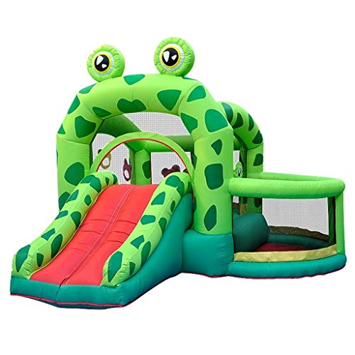 Bouncy Castles inflatable castle home frog trampoline child naughty castle indoor and outdoor slide (Color : Green, Size : 330 * 300 * 235cm)