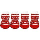 Gosear® 2 paires Noël blanc en peluche Brim Snowflake anti dérapant chaussettes pour chien chiot chat rouge M
