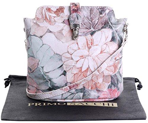 Vero cuoio italiano morbido o effetto struzzo, attraversare il piccolo corpo o spalla borsetta.Include una custodia protettiva marca Vintage Floral