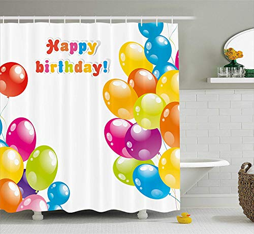 BUZRL Birthday Decorations Shower Curtain, Colorful Festive Mood Flying Party Balloons Surprise Happy Occasion, Fabric Bathroom Decor Set with Hooks, 60W X 72L Inche, Multicolor